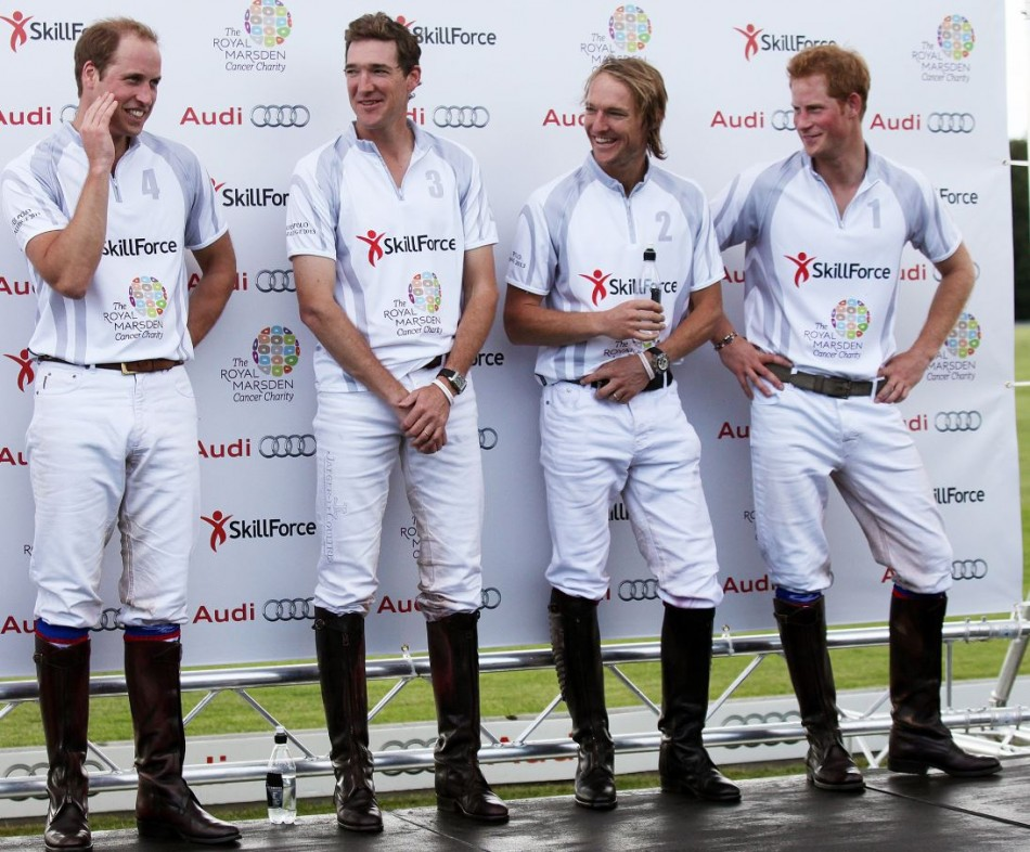 Prince William L and Prince Harry R stand with team-mates Mark Tomlinson 2nd L and Luke Tomlinson after competing in a charity polo match at Coworth Park, southern England August 3, 2013.