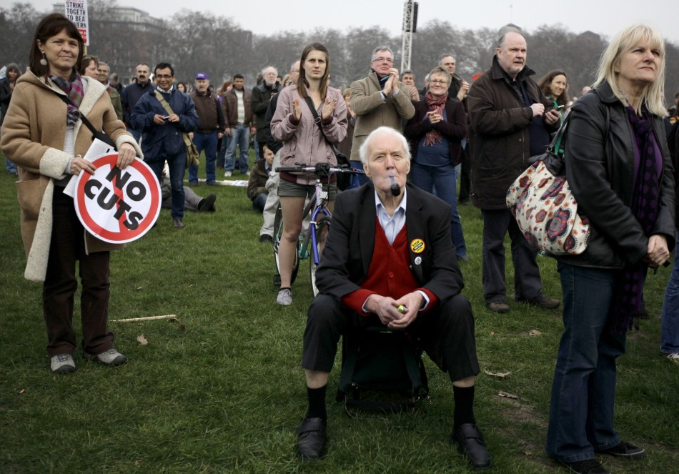 Tony Benn protesting against government policies, two years ago