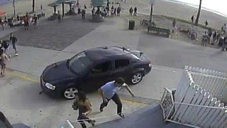 Pedestrians flee in terror as car mounts pavement at Venice beach