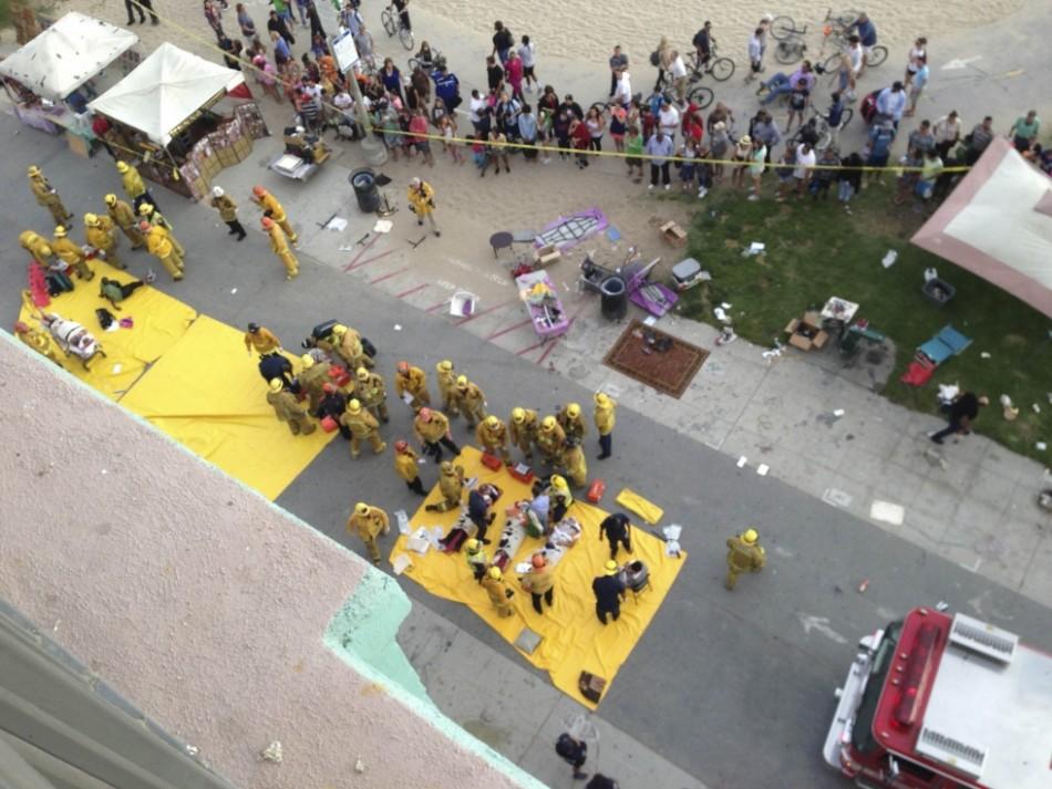 Emergency crews tend the injured at Venice beach, California