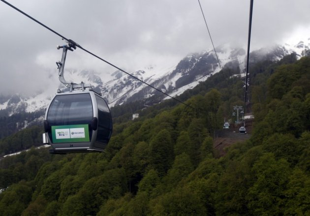 Cable cars above forest