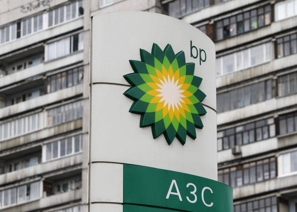 A BP logo is seen in front of an apartment block near a petrol station in Moscow.
