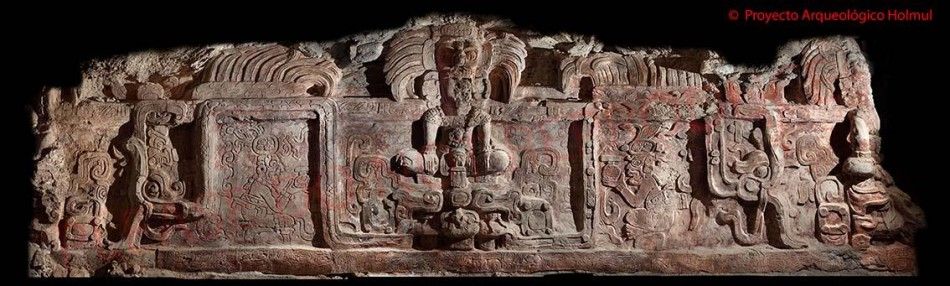 The central god-like figure on the frieze was possibly a local Holmul ruler called Yopaat Och Chan. (Photo: Estrada-Belli/© Holmul Archaeological Project)