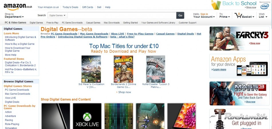 Downloadable Amazon Games (Credit: www.amazon.co.uk)