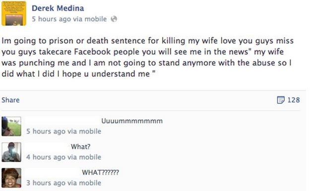 Man Kills Wife, Uploads Picture on Facebook