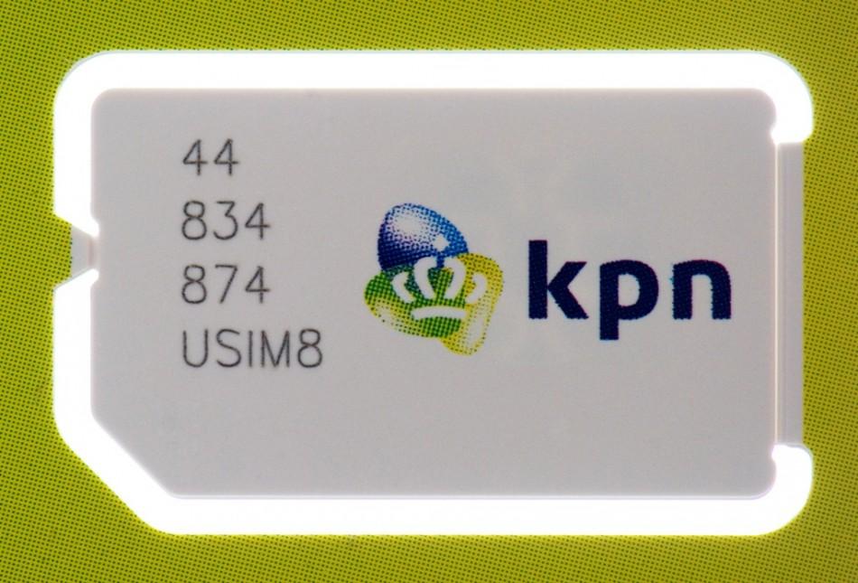 A sim card by Dutch telecoms group KPN is seen in Haarlem