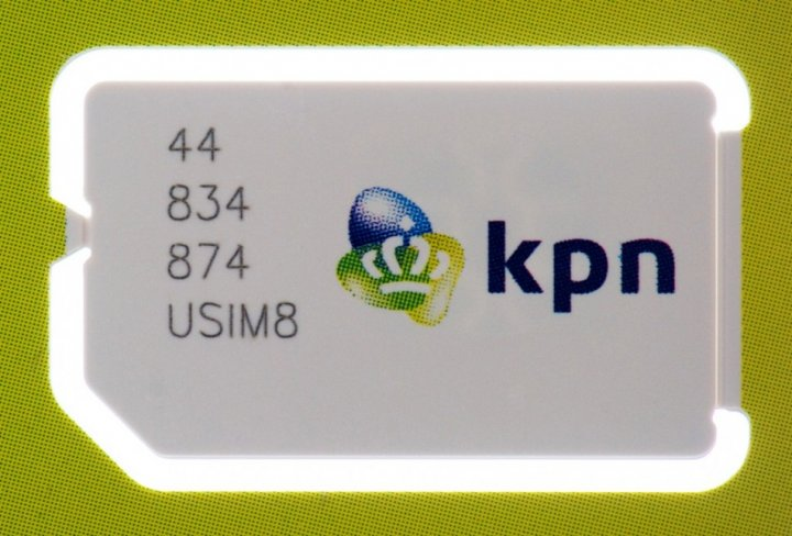 A sim card by Dutch telecoms group KPN is seen in Haarlem