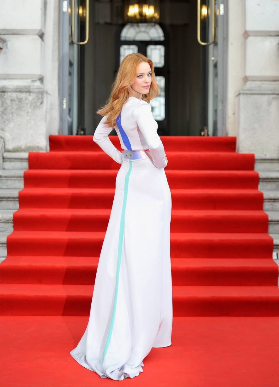 Rachel McAdams wore a white Roksanda Illincic gown to the premiere of About Time at Somerset House