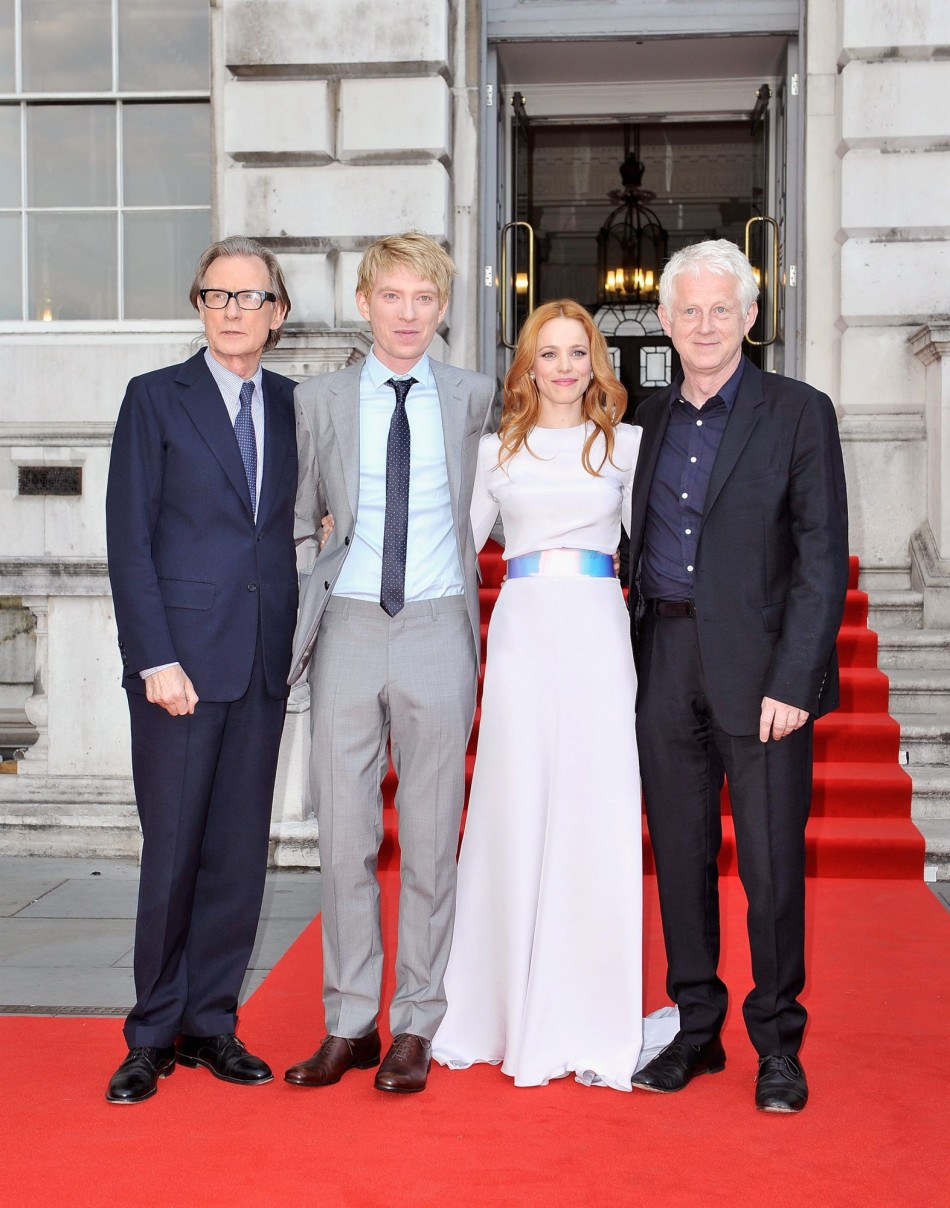 Rachel-McAdams with co-stars Domhnall Gleeson and co-star Bill Nighy and director Richard Curtis
