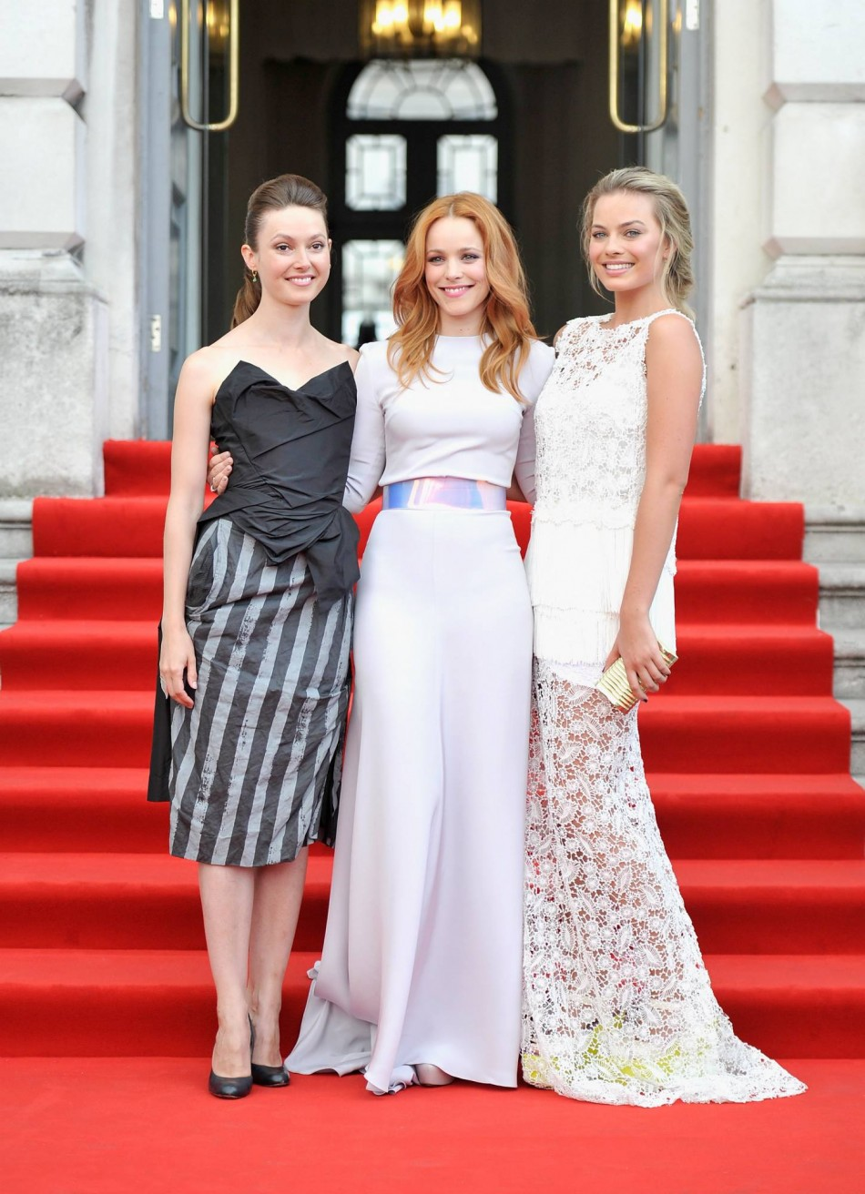 Rachel McAdams with her co-stars Lydia Wilson and Margot Robbie