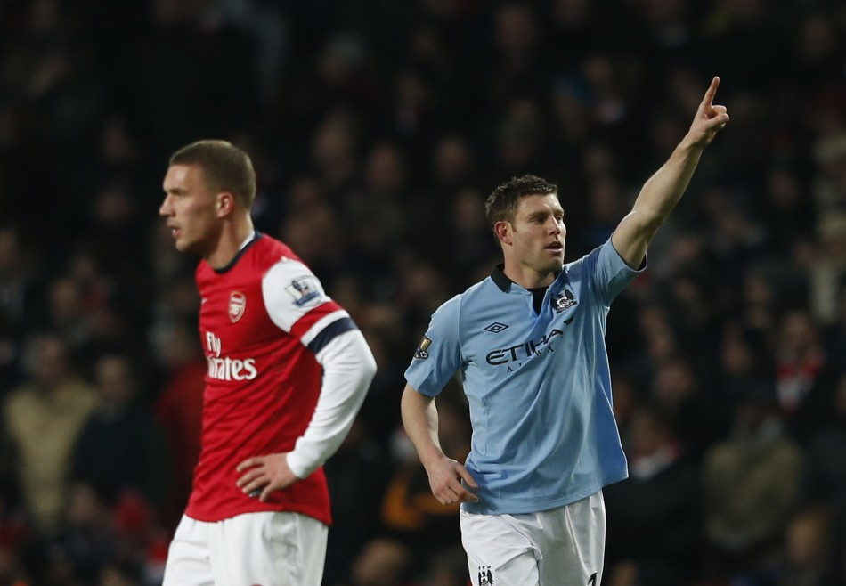 James Milner (R) and Lukas Podolski