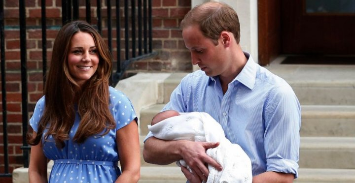 Prince William and his wife Catherine, Duchess of Cambridge appear with their baby son, outside the Lindo Wing of St Mary's Hospital,
