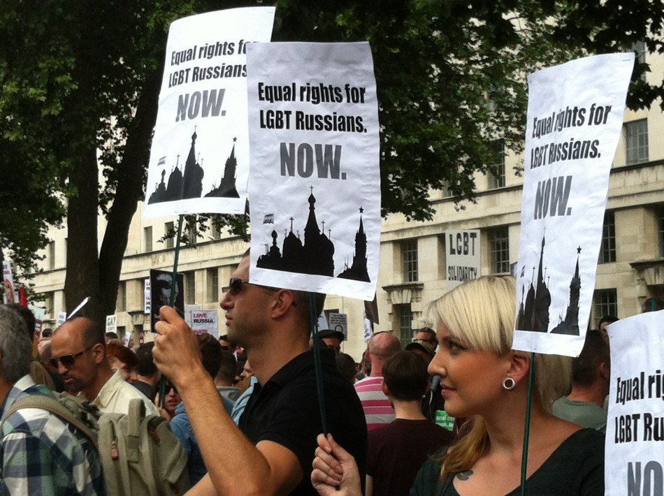 Hundreds attend a protest in London demonstrating against anti-gay laws in Russia. (Angela Clerkin)