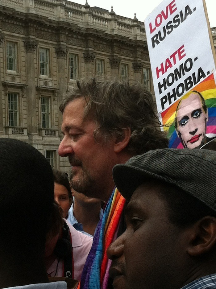 Stephen Fry attended the London protest and called for athletes at the 014 Sochi Winter Olympics to protest against homophobia. (Angela Clerkin)