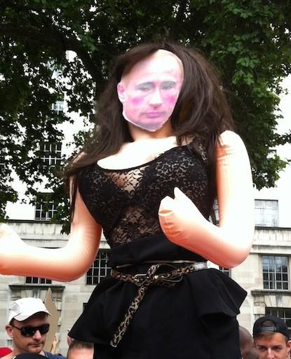 Anti-Putin sentiments ran high at the London protest. (Angela Clerkin)