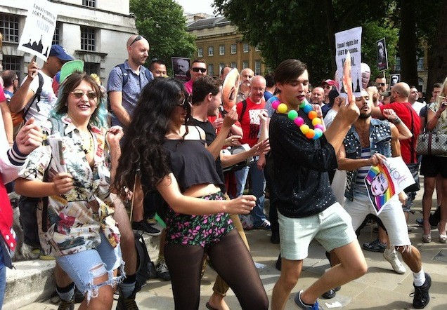 Line dancers limber up against anti-gay rights. (Angela Clerkin)