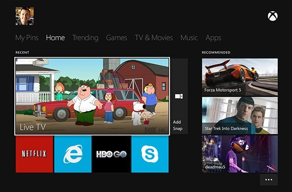 Xbox One Home Page (Credit: www.xbox.com)