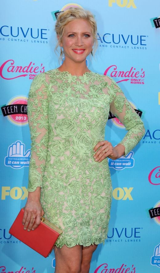Actress Brittany Snow poses as she arrives at the Teen Choice Awards at the Gibson amphitheatre in Universal City, California, August 11, 2013.
