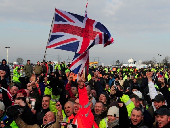 The row over the rise of foreign workers in Britain has rumbled for years. Pictured in 2009, workers protested over the use of foreign workers outside the Total Lindsey refinery in northern England (Photo: Reuters)