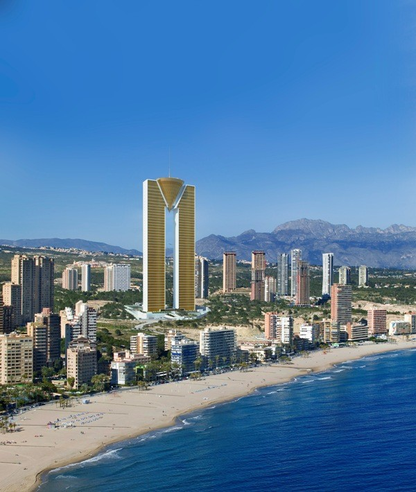 This is how Benidorm's skyline and InTempo would look after the building's construction will be finished in December this year. What will be done for elevators, still remain unanswered. (Photo: Kono Group)