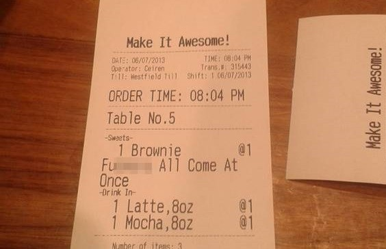 Offensive message on receipt at Grind Coffee Bar in Westfield, Stratford