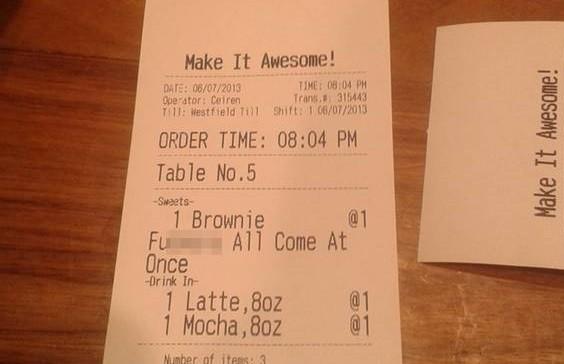 Offensive message on receipt at Grind Coffee Bar in Westfield, Stratford