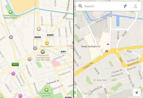 Apple maps versus Google maps
