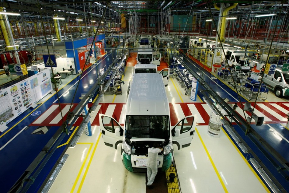 People work at Fiat's Sevelsud plant in Atessa, central Italy