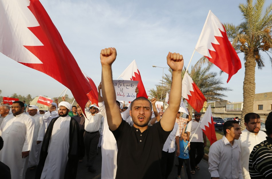 Anti-government demonstrators at a rally organised by Bahrain's main opposition group, Al Wefaq (Reuters)