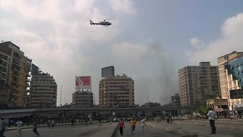helicopter cairo protest