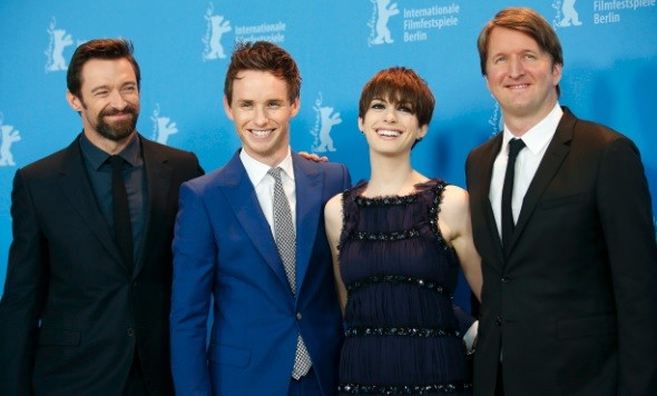 Actors Hugh Jackman, Eddie Redmayne, Anne Hathaway and director Tom Hooper (L-R) pose during a photocall to promote the movie