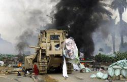 Bulldozer at Rabaa Adawiya