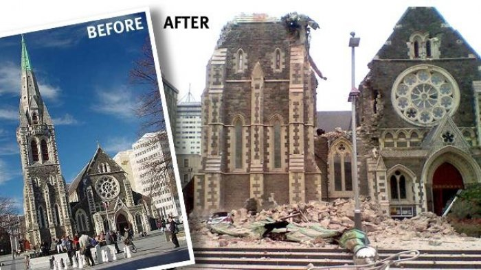 Christchurch Cathedral before and after the earthquake