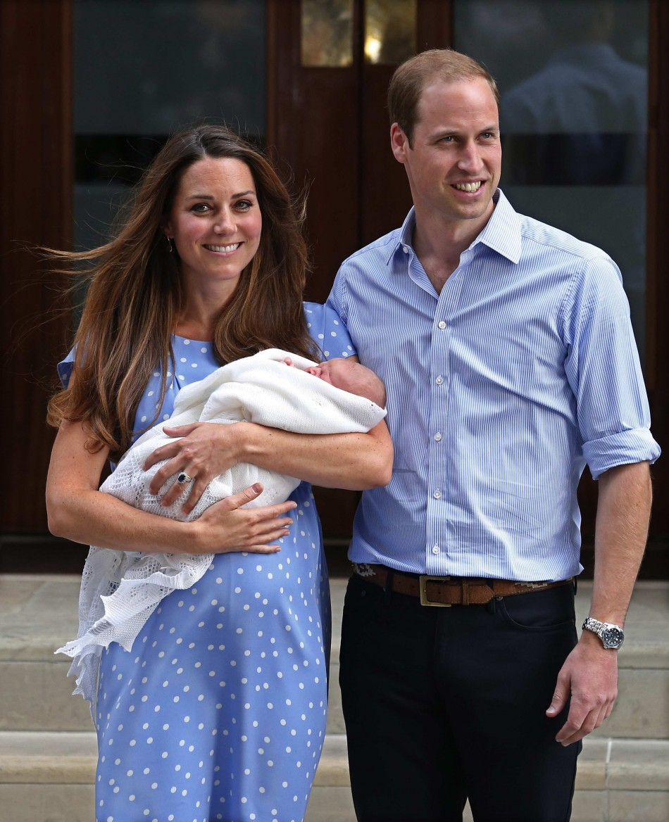 Kate Middleton's first appearance with her son, Prince George, on 23 July, a day after the royal baby was born. The Duchess will make first official public appearance, since becoming a mother, in September. (Photo: Reuters)
