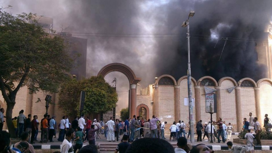 Sohag St. George church attacked by Morsi supporters (Mostafa Hussein)