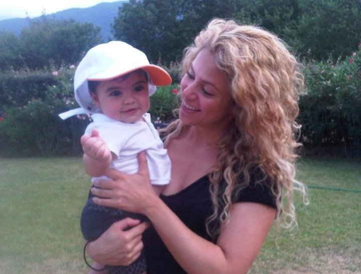 Shakira with baby Milan