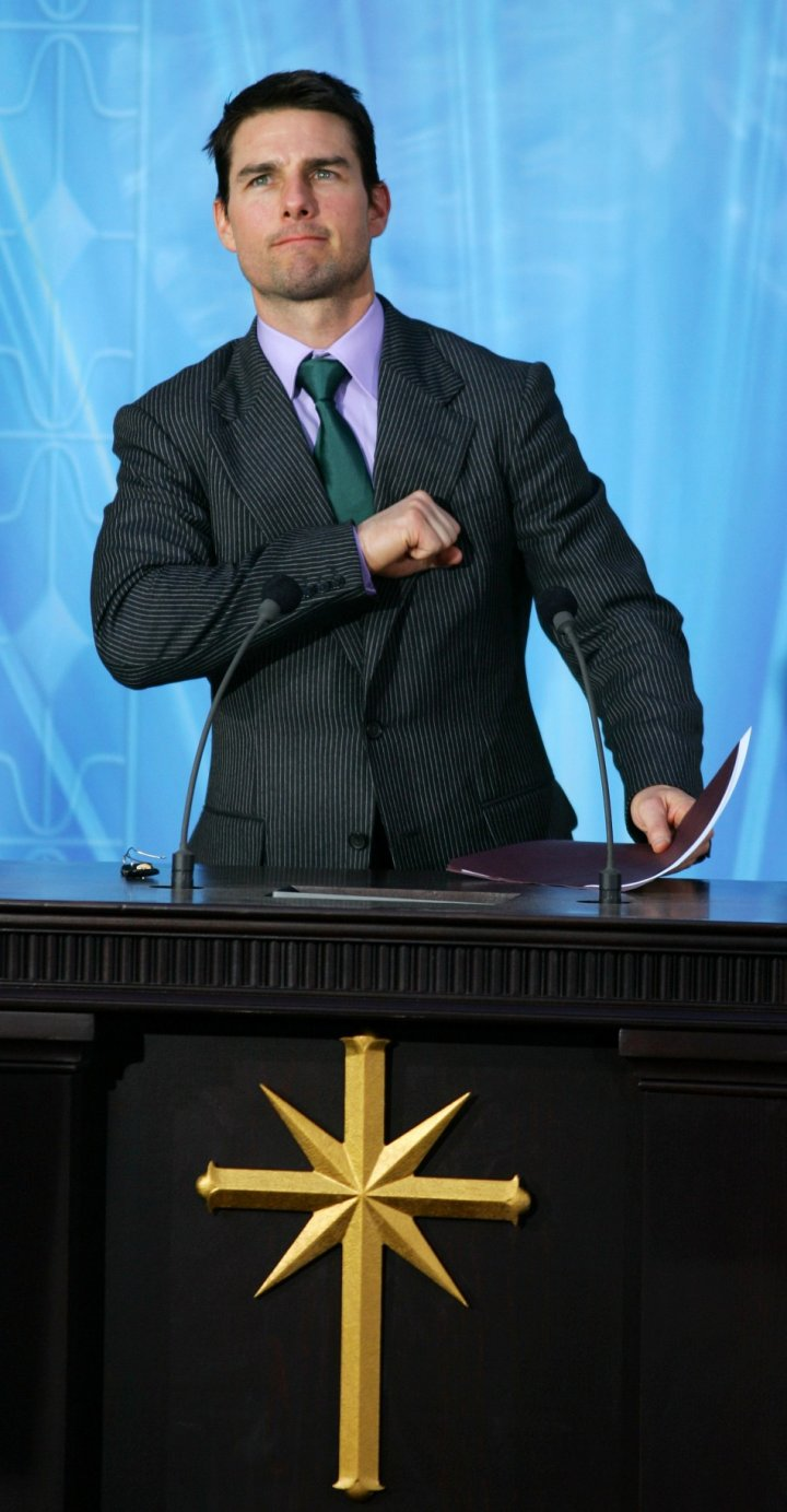 Actor Tom Cruise delivers a speech at the inauguration of a Scientology church in Madrid, 2004.