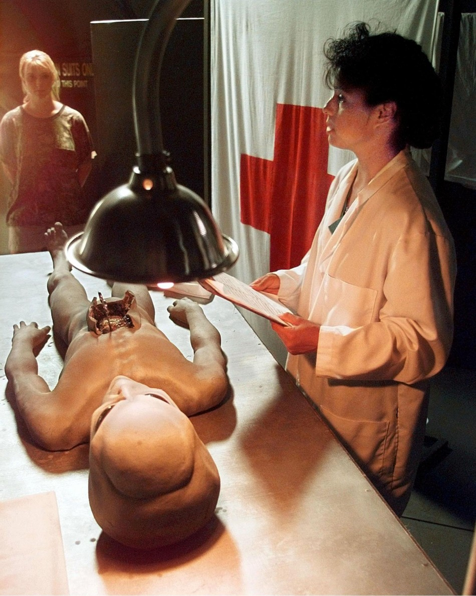 A recreation of the 'alien autopsy after the Roswell crash in New Mexico, 1947