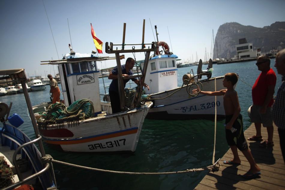 Spanish fishermen near Gibraltar