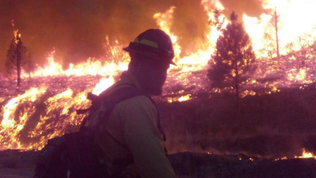 Firefighter tackles Idaho blaze