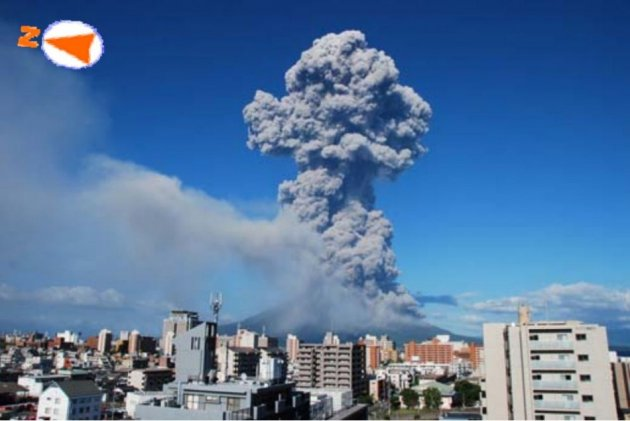 Status of Sakurajima eruption at Showa crater as seen from Higashikorimoto, Japan on 18 August, 2013. Height of the ash plume in this photo is estimated to be 3,500 m. (Photo: Kagoshima Local Meteorological Observatory)