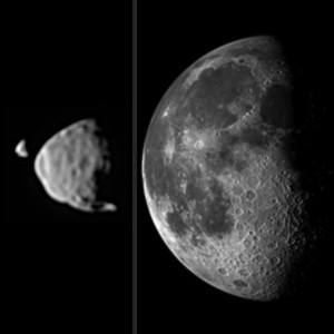 This illustration provides a comparison for how big the moons of Mars appear to be, as seen from the surface of Mars, in relation to the size that Earth's moon appears to be when seen from the surface of Earth. (Image Credit: NASA/JPL-Caltech/Malin Space