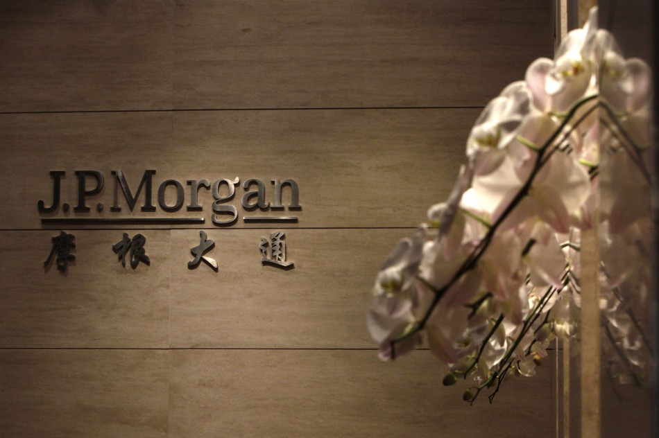 The JP Morgan sign is pictured at its Beijing office