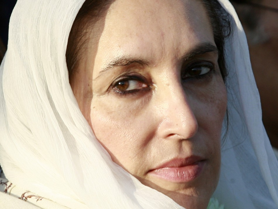 Pakistani opposition leader Benazir Bhutto attends an election rally in Rawalpindi