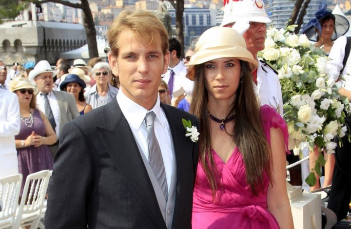 Andrea Casiraghi and Tatiana Santodomingo, then his girlfriend, arrive at the Place du Palais to attend the religious wedding ceremony for Monaco's Prince Albert II and Princess Charlene at the Palace in Monaco July 2, 2011. Casiraghi and Tatiana will tie