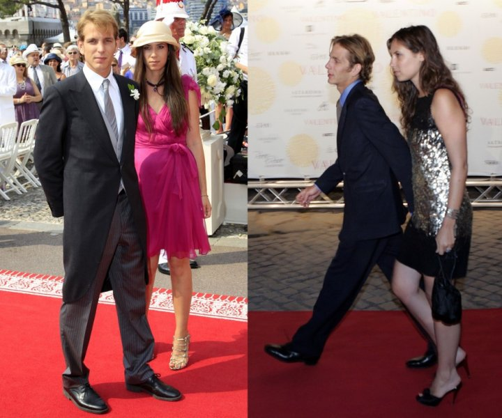Andrea Casiraghi and Tatiana Santodomingo pictured (Left) on the wedding day of Monaco's Prince Albert II and Princess Charlene in 2011; they arrive (Right) for Valentino's party at the Temple of Venus in Rome July 6, 2007. After being together for more t