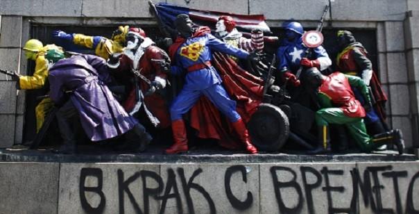 Monument in Sofia got the American superhero treatment in 2011