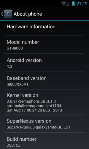 Galaxy S I9000 Gets Android 4.3 via SuperNexus 3.0 ROM [How to Install]