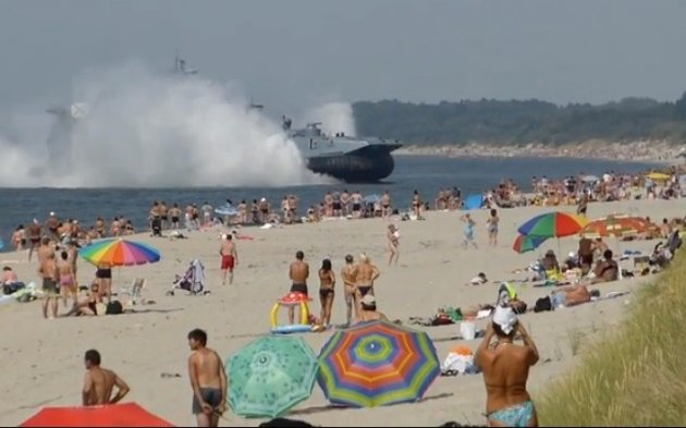 Amphibious landing craft lands on Kaliningrad, western Russia