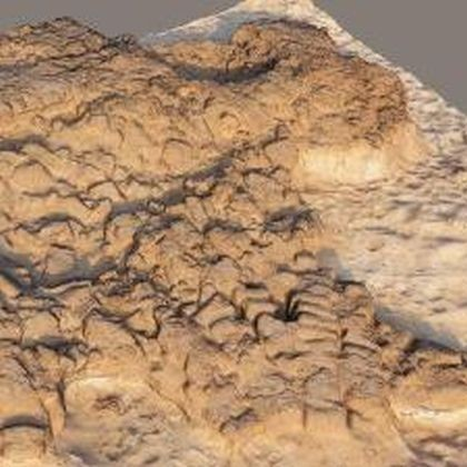 A 3D presentation shows collapse of mud-brick structures in Hellenistic period in Israel. Those structures had been built on top of an Iron Age fortifications. (Credit: Philip Sapirstein/TAU)